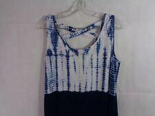 Style & Co Petite Women's Color Block Blue Tie Dye Maxi Dress Size PL NWT