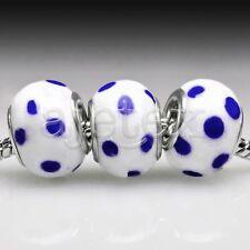 5/10pcs Silver Murano Glass Lampwork Bead Fit European Bracelet 14x14x10mm