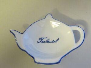 Teebeutelablage weiß-blau in Form einer Teekanne