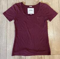 Abercrombie & Fitch Women's Crew T Shirt Wine Red Medium Cotton Blend