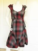 NWOT ANTHROPOLOGIE By FLOREAT WOOL PLAID RED MULTICOLOR DRESS SIZE: 2