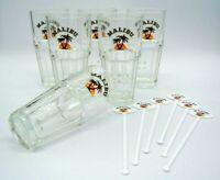 6x MALIBU Gläser + 6 Stirrer - Longdrink Cocktail Stapelglas Bar Glas Logo Neu