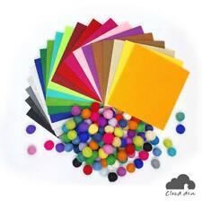 Felt Fabric Paper & Felt Balls Bundle, DIY Kids Craft Supply Kit, Assorted
