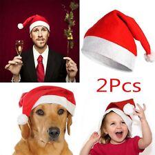 2Pcs Christmas Cap Thick Ultra Soft Plush Santa Claus Holiday Fancy Dress Hat
