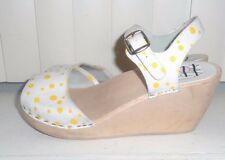 Maguba Bologna Yellow Polka Dot Natural Wedge Wood Clog Sandals Size 5 EU35 NWOB