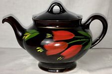 Vintage ROYAL CANADIAN ART POTTERY Hamilton Teapot Brown Red Handpainted Tulips