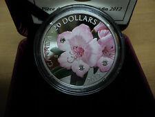 2012 Canadian $20 Dollar Rhododendron Fine Silver Coin W/Crystals