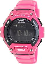 Casio WS220C-4B Tough Solar 120-LAP Memory Stopwatch Sports Watch - Glossy Pink