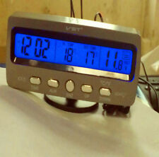 3in1 Clock/in&out Car Voltage Meter Digital Voltmeter Thermometer Blue Backlight