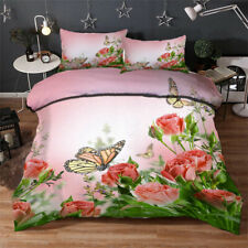 Butterfly Charm 3D Quilt Duvet Doona Cover Set Single Double Queen King Print