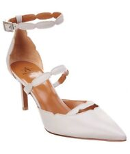 Aquatalia Melania Waterproof Italian Leather Pumps Heels Light Gray Pearl 6 1/2