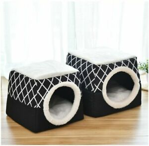Soft Cat Cave House Dogs Cozy Pet Bed Nest Kennel Sleeping Bag Mat Pad Tent New