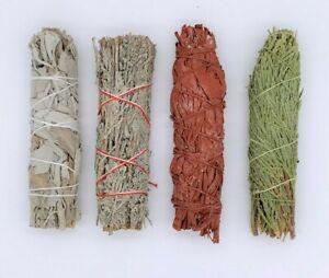 4X : Sage Smudge Stick Bundle Sampler Kit: White, Blue, Dragons Blood, Cedar