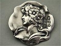 6 Knöpfe 925er Sterling Silber Jugendstil Knopf England 1903 Chester Button (89)