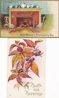 Thanksgiving,2 vintage, 1 Signed Ellen Clapsaddle, Fireplace Blazing & Autumn Le