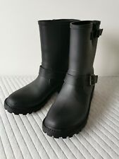 BN Black Biker style shorter length Wellies boots 6 Very