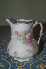 shabby chic  French limoges Roses pink flowers gold tea coffee milk jug pitcher