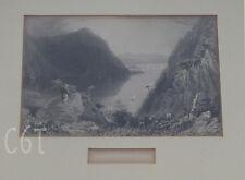~ antique Hudson River steel engraving Print  ~ chippy frame ~ Hudson Highlands