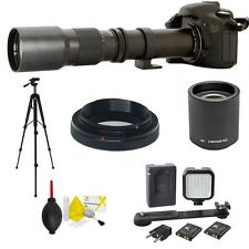 TELEPHOTO ZOOM LENS 500-1000MM + TRIPOD + LED LIGHT FOR CANON REBEL T3 T5 SL1