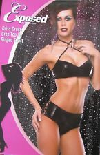 SEXY BLACK PVC WET LOOK CROP TOP BRA AND RINGED DETAIL SHORTS BRIEFS 20 22 24..