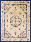 Antique Art Deco Nichols Ivory Chinese Area Rug Vegetable Dye Hand-Knotted 9x12