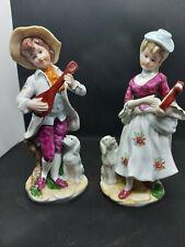 Porzellan Figuren, musizierendes pärchen mit hund marke unbekannt