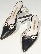 "Manolo Blahnik mules black white flowers women size 36-1/2 resoled 1-3/4"" heels"
