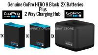 Genuine Original OEM GoPro Hero 9 Black 2X Battery Plus Dual Charger Hub Bundle