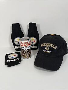 Steeler NFL Lot  Hat Coozies & 1976 Superbowl Iron City Collectible beer can