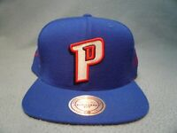 Mitchell & Ness Detroit Pistons Solid Stitched Signatures NEW Snapback cap hat