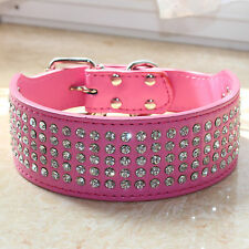 """2"""" Leather Collar Bling Rhinestone Crystal Dog Collar Large Dogs Pit Bull S M L"""