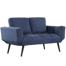 Schlafsofa Klappsofa 2-Sitzer Stoffsofa Sofa mit Schlaffunktion Samt Metall Blau