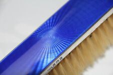 Guilloche Enamel & English Hallmarked Sterling Silver Clothes Brush