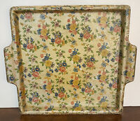 """VIKING 1960's Vintage Floral Chintz Paper Mache 9"""" Handled Tray  Hand Made Japan"""