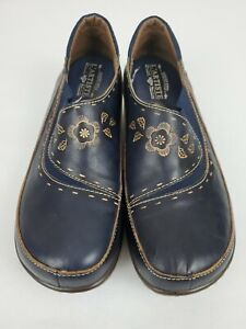 Spring Step L' Artiste Burbank Navy Blue Floral Clogs Size 41 US 9.5-10