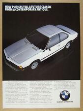 1984 BMW 633CSi Coupe white car photo vintage print Ad