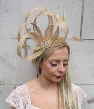 6bb450265783e Gold Sinamay Feather Hair Band Fascinator Headband Races Cocktail Diamante  5097