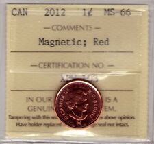 2012 Canada Small Cent Red; Magnetic ICCS MS-66