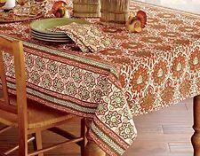 TAG Masala Tablecloth Block Cotton Batik India Print Earthtone 60 X 84