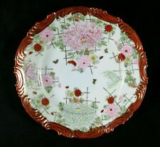 "2 Vintage 1920s-1930s Handpainted Dinner Plates Floral & Gold 8.5"" Diam Japan VF"