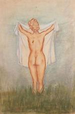 Vintage Impressionist pastel painting nude female portrait