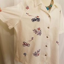 alfred dunner plus 18 crinkle white red blue embroidery flowers bikes summer EUC
