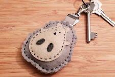 Felt hedgehog keyring bag clip charm. Grey