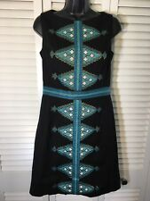 Beth Bowley Dress Black With Turqouise Size 6