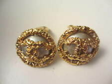 Authentic CHANEL Vintage CC Clip (ngt) earrings