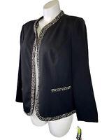 NWT Dana Kay Black Blazer Jacket 18W Open Front With Trim Long Sleeve New