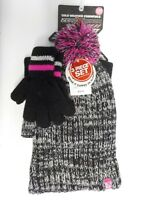 GIRLS SIZE S/M ZERO XPOSUR BRAND BLACK/PINK HAT AND GLOVES SET NEW NWT #4573