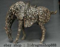 "24"" Ancien Chine Bronze Ware Dynastie Argent Zodiaque Animal Stand Cheval Statue"