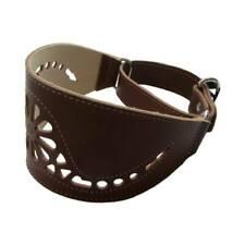 Collar piel perros Galgo marron regulable motivo floral S cuello 30-40 cm
