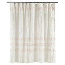 Threshold Shower Curtain Smocked Zigzag 100 Cotton Embroidery 72x72 White